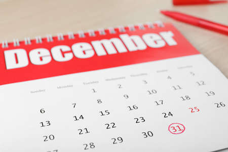 Calendar with marked date, closeup. New year countdown 版權商用圖片