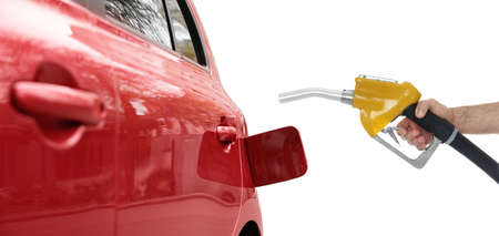 Gas station worker with fuel nozzle near car on white background, closeup. Banner design