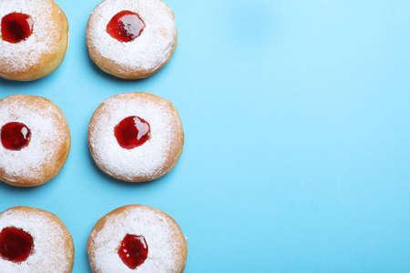 Hanukkah donuts with jelly and sugar powder