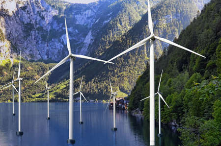 Floating wind turbines installed in water near mountains. Alternative energy source