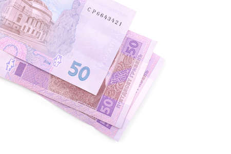 50 Ukrainian Hryvnia banknotes on white background, top view