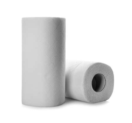 Rolls of paper tissues on white background