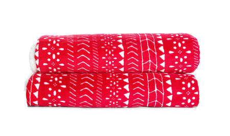 Stylish soft red plaid on white background