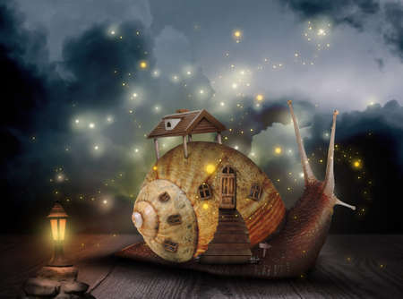 Fantasy world. Magic snail with its shell house moving on wooden surface surrounded by fairy lights