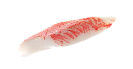 Piece of fresh crab stick isolated on white