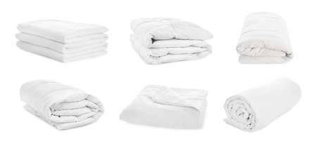 Set of clean blankets isolated on white. Banner design