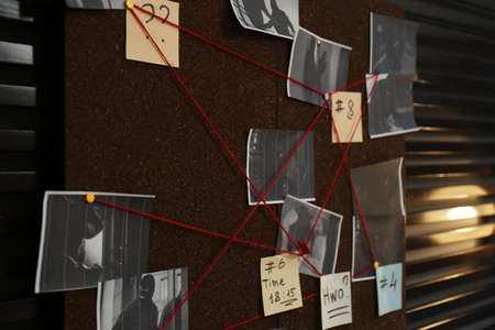 Detective board with crime scene photos, stickers, clues and red thread on wall, closeup