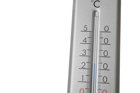 Modern gray weather thermometer on white background, closeup