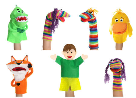 Puppet show. Collage with photos of different dolls on hands against white background