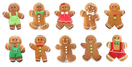 Set of gingerbread men and women isolated on white. Banner design