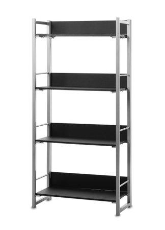 Stylish empty shelving unit isolated on white Foto de archivo