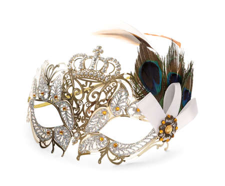 Beautiful carnival mask with feathers isolated on white Zdjęcie Seryjne