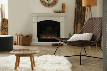 Beautiful view of cozy living room interior with modern fireplace Standard-Bild