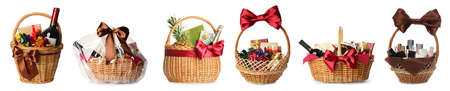 Set with wicker baskets full of different gifts on white background. Banner design