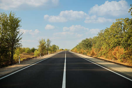 Beautiful view of empty asphalt highway. Road trip