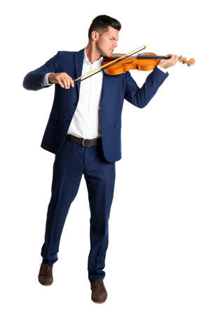 Man playing wooden violin on white background