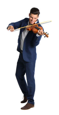 Happy man playing violin on white background