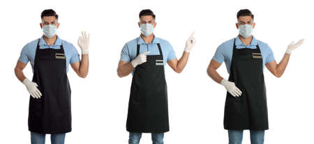 Collage with photos of waiter wearing medical mask on white background. Protective measures during coronavirus outbreak, banner design
