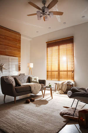 Spacious living room with comfortable sofa. Interior design Reklamní fotografie