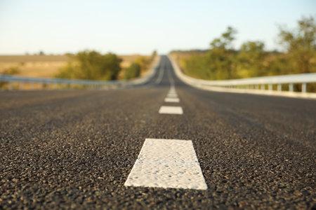 Beautiful view of empty asphalt highway. Road trip 스톡 콘텐츠