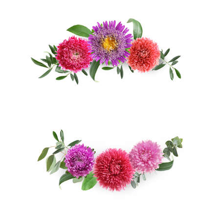 Wreaths made of beautiful flowers on white background
