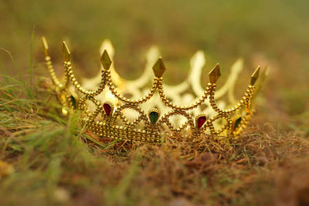 Beautiful golden crown on fresh green grass outdoors, closeup. Fantasy item
