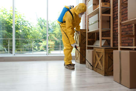 Pest control worker in protective suit spraying pesticide indoors. Space for text Zdjęcie Seryjne