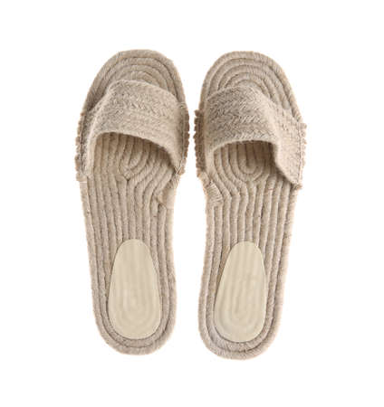 Slide shoes on white background, top view. Beach accessory
