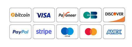 MYKOLAIV, UKRAINE - JANUARY 18, 2021: Logotypes of different payment systems on white background, illustration