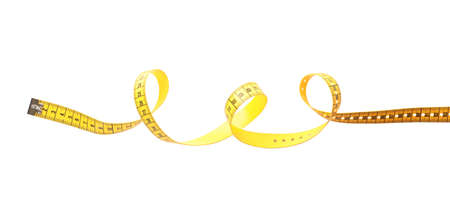 New yellow measuring tape isolated on white, top view Banque d'images