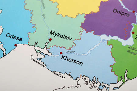 Southern region on map of Ukraine, closeup