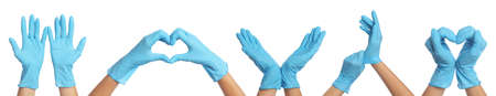 Collage with photos of woman wearing medical gloves on white background, closeup. Banner design