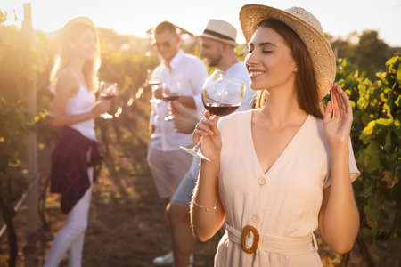 Beautiful young woman with glass of wine and her friends in vineyard on sunny day Banque d'images