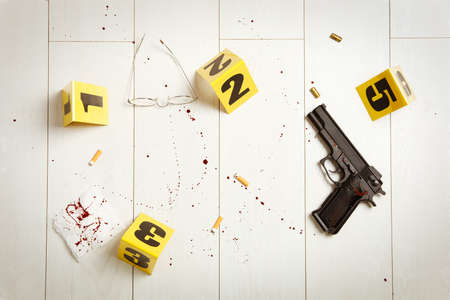 Flat lay composition with evidences on white wooden background. Crime scene Reklamní fotografie