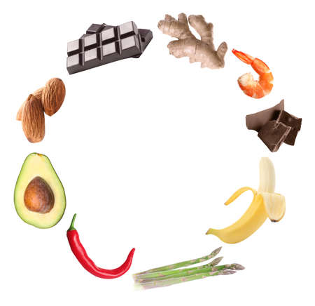 Set with different aphrodisiac food for increasing desire on white background