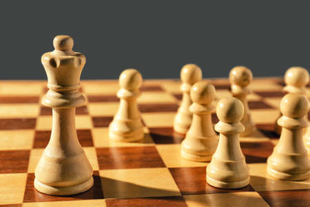 Queen and pawns on wooden chess board, closeup. Social roles concept