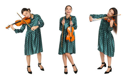 Collage with photos of beautiful woman playing violin on white background