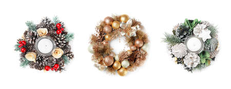 Set with beautiful Christmas wreaths on white background, banner design