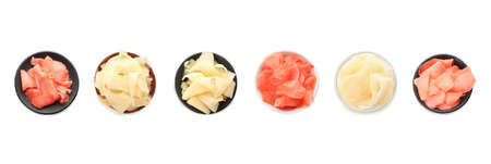 Set with pickled ginger on white background, top view. Banner design