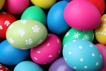 Colorful eggs as background, closeup. Happy Easter Stockfoto