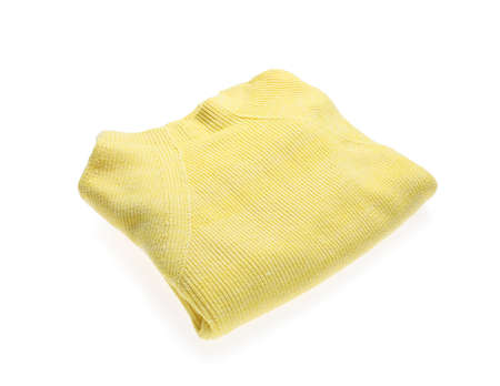 Yellow woolen sweater isolated on white. Warm clothes