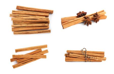 Set with aromatic cinnamon sticks on white background
