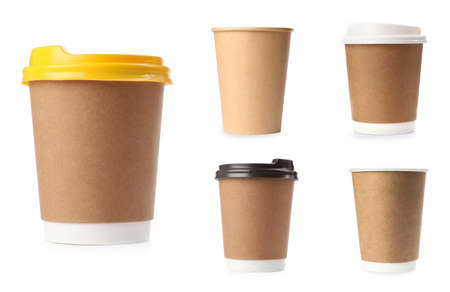 Set with different paper coffee cups on white background Banco de Imagens