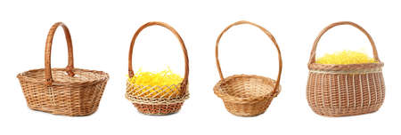 Set with wicker baskets on white background, banner design. Easter item