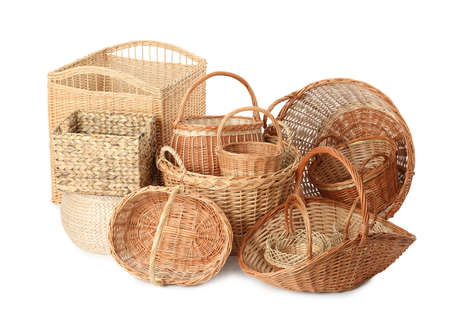 Many different wicker baskets isolated on white
