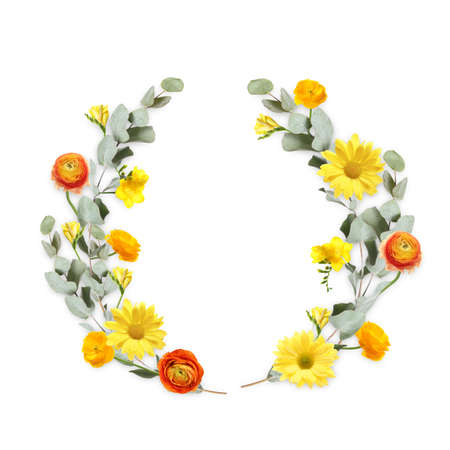 Wreath made of beautiful flowers on white background