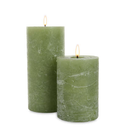 New pillar wax candles on white background