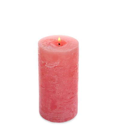New pillar wax candle burning on white background Reklamní fotografie