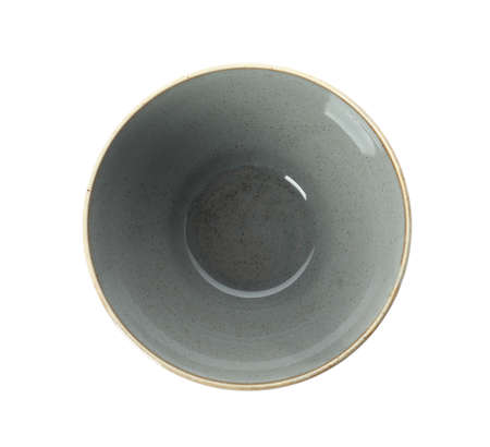 New grey ceramic bowl isolated on white, top view