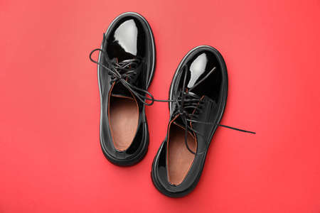 Pair of stylish female shoes on red background, flat lay Reklamní fotografie